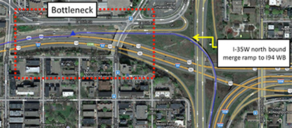 Figure 3. Location of first bottleneck where I-35W northbound merge ramp joins I-94 westbound