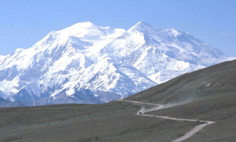 Figure 4. Vehicle approaching one of several mountain passes along Denali Park Road.