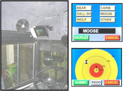 Figure 6. Touch screen data logging system mounted in cab of Denali tour bus; small images show user interface for logging wildlife encounters.