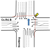 Intersection diagram showing camera field of view and traffic movements.
